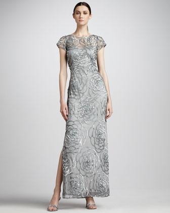 Aidan Mattox Niteline Sequined-Flower Mesh Gown - Neiman Marcus