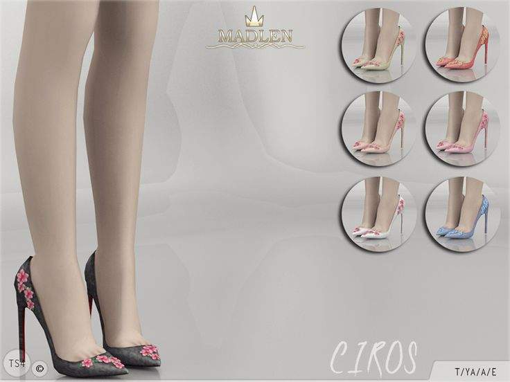 New pumps with floral decorations! Come in 7 colours.  Found in TSR Category 'Sims 4 Shoes Female'