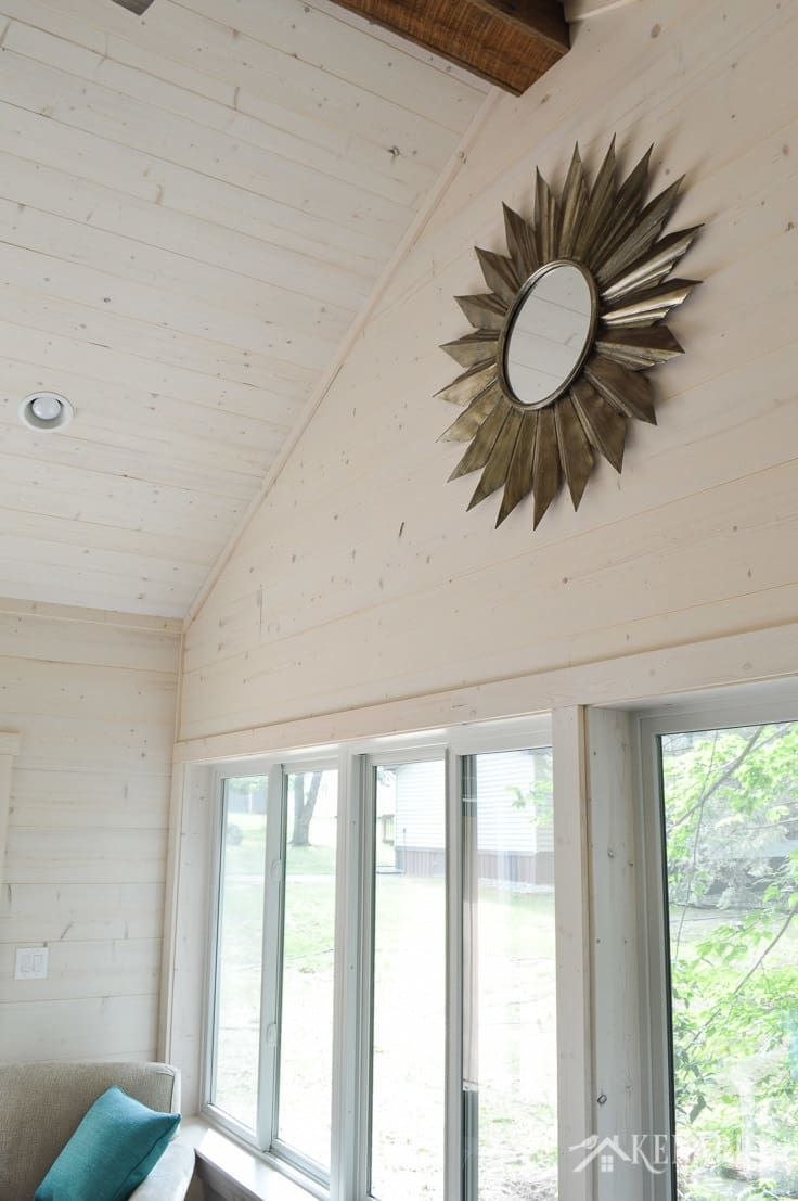 Cottage Sunroom Reveal Shiplap Walls And Decor Ship Lap Walls Pine Wood Walls Shiplap Ceiling