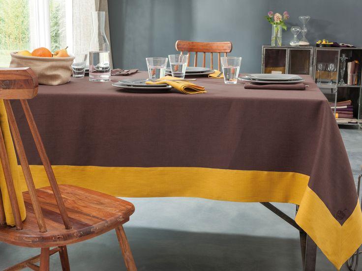 Linge de Table - Nappe brodé 100% Lin - Moka Safran - Blanc Cerise. Traité déperlant. www.blanc-cerise.com