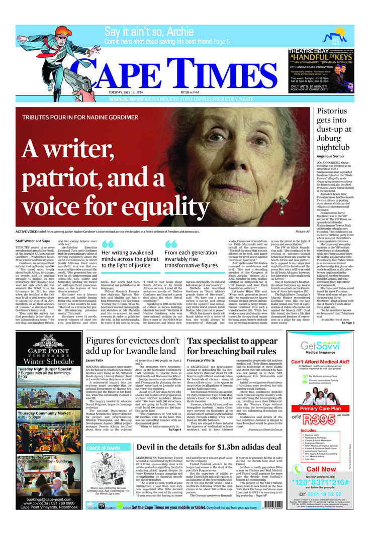 News making headlines: Tributes pour in for Nadine Gordimer