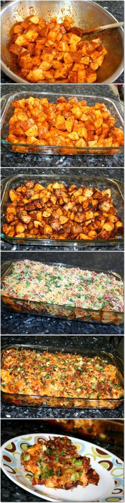 Loaded Potato And Buffalo Chicken Casserole...think instead of ALL hot sauce I will mix it with bbq sauce, spicy or regular **thinking of using gold potatoes and parboiling the chicken before mixing it with the sauce...and of course have sour cream/ranch dressing for each persons preference to put on top if they wish...**check out all the reviews on Pinterest for this dish/lots of ideas**