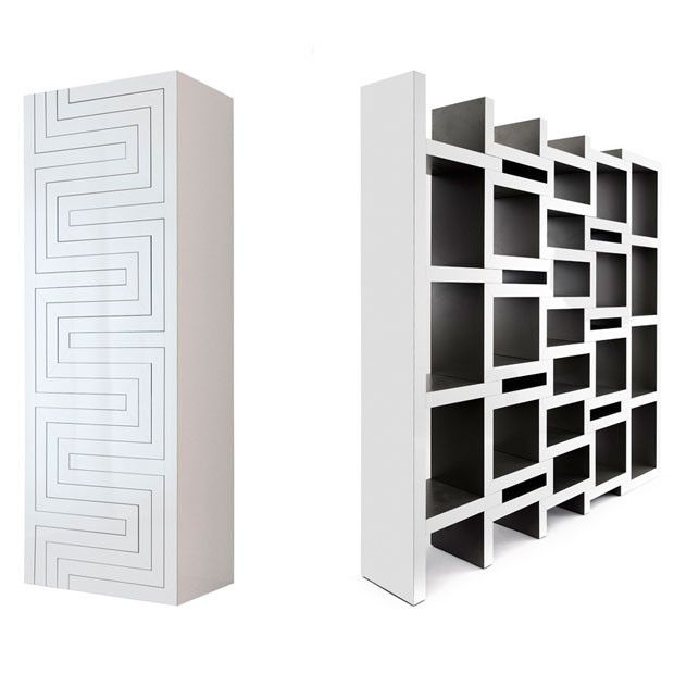 REK Bookcase  by Reinier de Jong //    REK is a bookcase that grows with your book collection. The more books the bigger the bookcase gets. The zigzag shaped parts slide in and out to accomodate books in the resulting voids. REK will always be full, regardless of the quantity of books. Also the books can be arranged according to their sizes. The narrow spaces are excellent for magazines.
