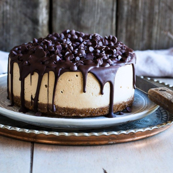 A vegan, gluten free, no-cook, grown-up cheesecake made with cashews, pecans, dates, espresso, coffee liquor, and a lot of chocolate.