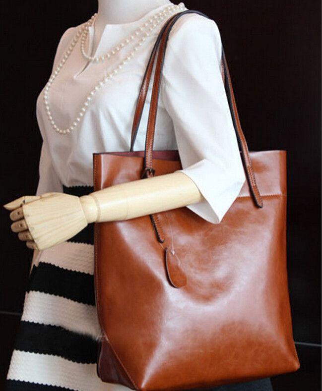 Moda ocasional preto sacos de ombro grande couro do couro óleo depilação saco bolsa do couro genuíno das mulheres em Bolsas Estruturadas de Mochilas & bagagem no AliExpress.com | Alibaba Group