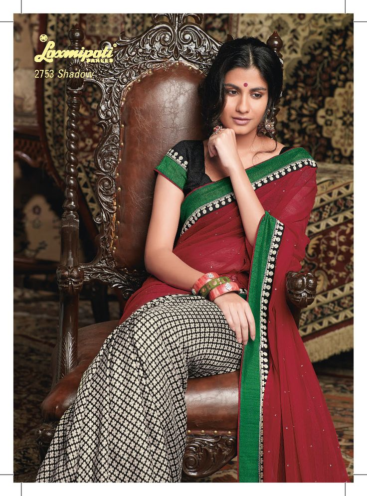 This Black & white Khadi saree with red color chiffon pallu
