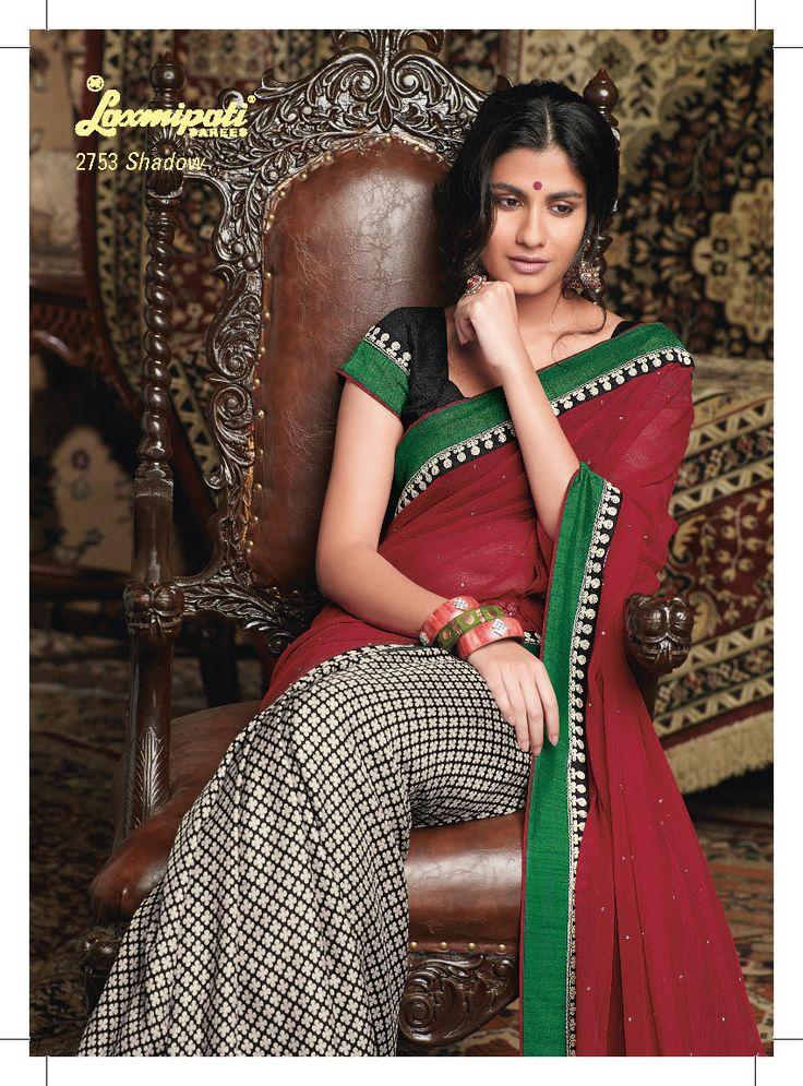 This Black & white Khadi saree with red color chiffon pallu