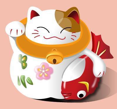 """Maneki Neko (gato que acena) é o gato japonês da sorte. O gato branco significa pureza, divindade e a pata direita levantada atrai fortuna e sorte. O peixe simboliza força, coragem, determinação para enfrentar as """"correntezas"""" da vida e seguir em frente. Também se diz que um gato com um peixe é um gato feliz!"""