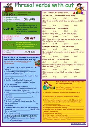 Phrasal verbs with CUT *** with dictionary *** 3 tasks *** with key...