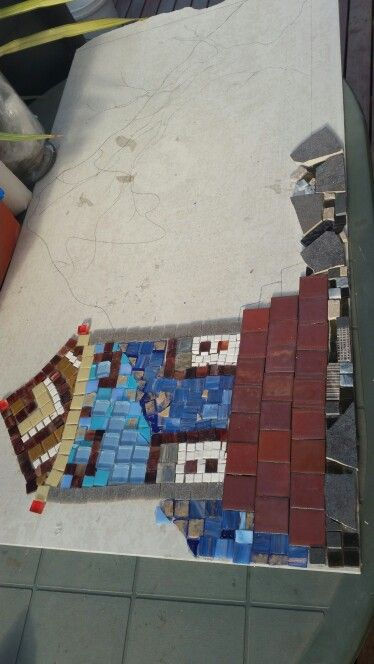 Mountain, sky and some of the ground have been installed. This mosaic is coming along well!