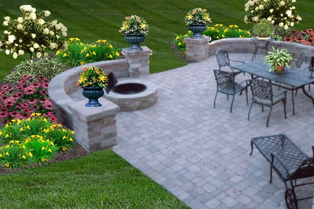 Outdoor patio ideas with fire pit patio pictures for Outdoor spaces landscaping