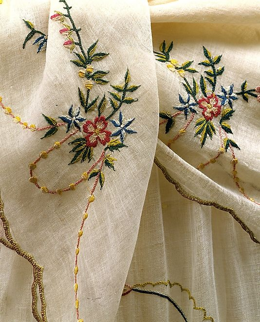 Dress and Fichu, close-up of embroidery work.
