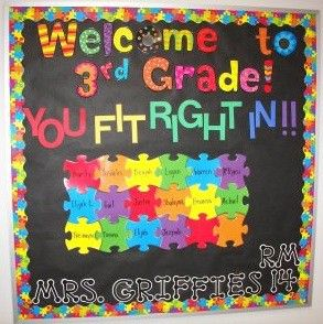 bulletin boards: Classroom Idea, Schools Bulletin Boards, Boards Idea, Back To Schools, Cute Bulletin Boards, Bulletinboard, Teacher, Puzzles Piece, Backtoschool