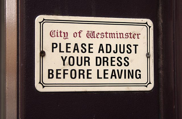 'City of Westminster - Please Adjust Your Dress Before Leaving'. 'City of Westminster' street sign with novelty wording purported to be found in Victorian bawdy lodging houses. The vitreous enamel steel miniature plate is manufactured in the same factory as the full size plates supplied to the City of Westminster and London Underground.