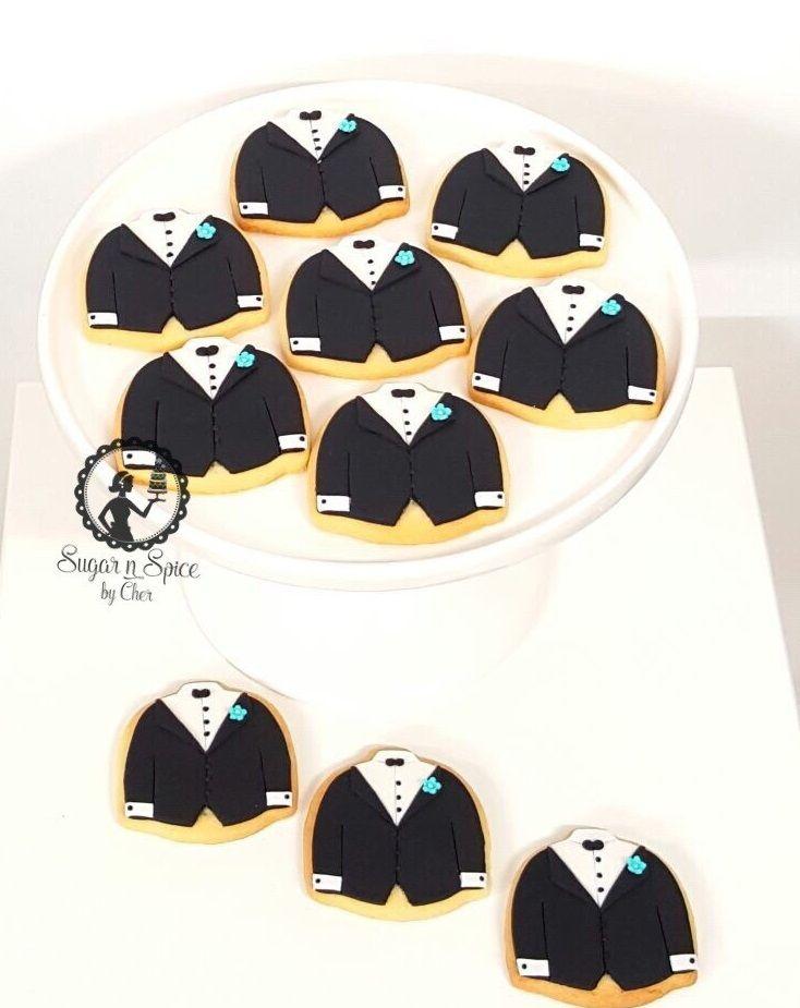 Groom wedding cookies with a hint of Tiffany blue  #sugarnspicebycher
