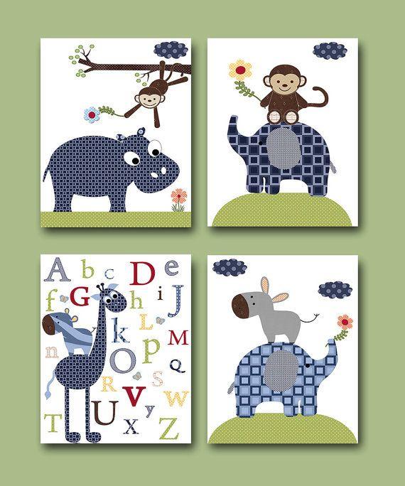 Kinder Kunst Kinder Wand Kunst Baby Junge Zimmer Dekor Baby junge Kindergarten Kinder Kunst Baby Set besteht aus 4 Elefant Giraffe Nilpferd Navy