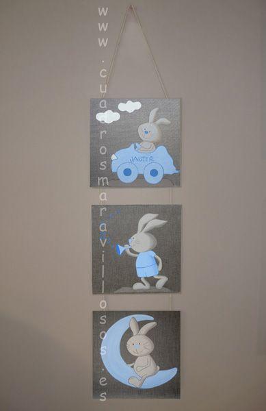Cuadros infantiles de conejitos, sobre lienzo color lino natural en www.cuadrosmaravillosos.es Se envían a toda España.