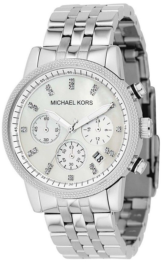 Treat her to something special with this Michael Kors women'schronograph watch. The delicate beauty of the mother of pearl dialprovides the backdrop for the Swarovski crystal markers andluminescent ha