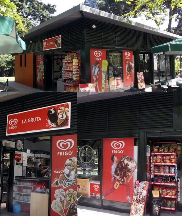 Personalización, visibilidad y unificación de todos los kioscos Frigo del Parque de El Retiro en Madrid.  Unilever: 2014