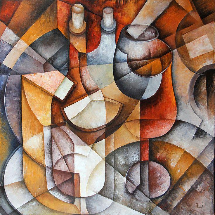 Two Bottles by Eugene Ivanov  #eugeneivanov #cubism #avantgarde #threedimensional #cubist #artwork #cubistartwork #abstract #geometric #association #@eugene_1_ivanov
