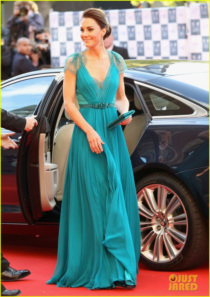 Kate Middleton wearing a stunning gown by Jenny Packham.
