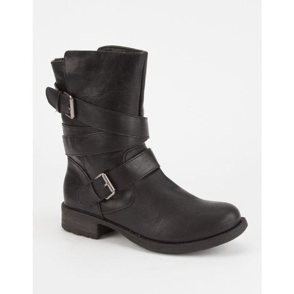 Sugar Islet Womens Engineer Boots (170 ILS) ❤ liked on Polyvore featuring shoes, boots, synthetic boots, leather upper shoes, buckle strap boots, leather upper boots and mid-heel boots