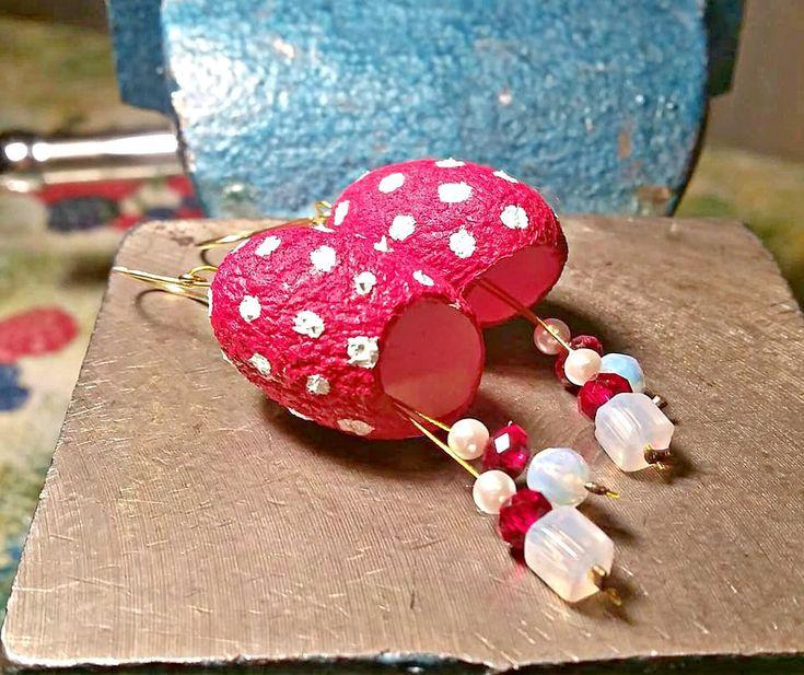 Silk cocoon earrings, Easter earrings, Red earrings, polka dot, Lightweight earrings, Boho Jewelry, Dangle Earrings, Women gift, Greek shop
