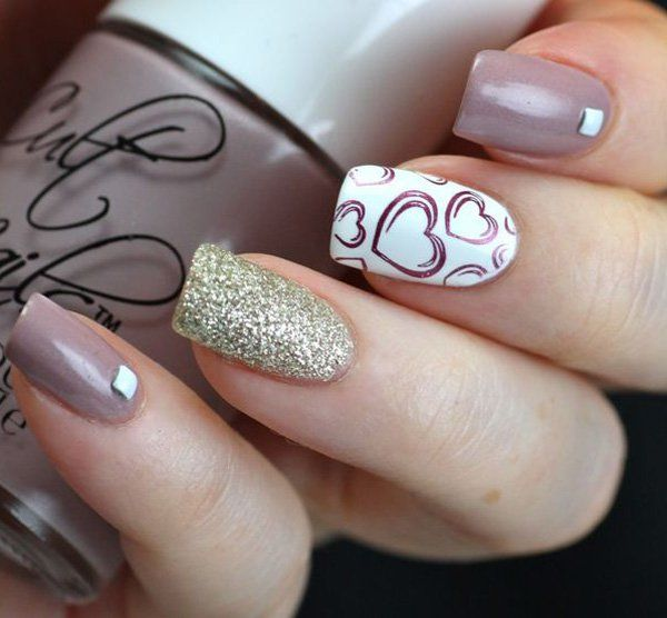 Plum gray and white nail art design. A very cute nail art design with silver glitter and heart details in plum nail polish painted on top of a white nail polish background.