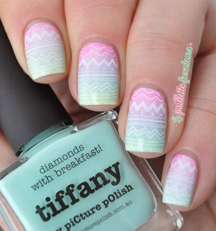 Easter egg pastel gradient nails with stamping Moyou