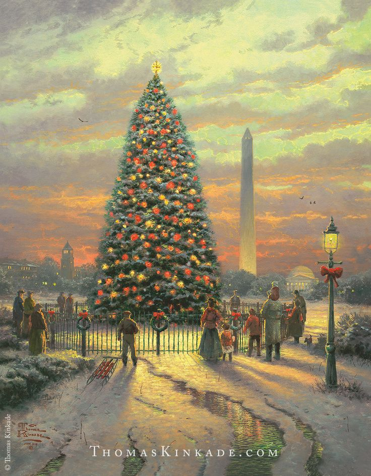 "Thomas Kinkade painted ""Symbols of Freedom"" in 2004 - inspired by Norman Rockwell's ""Four Freedoms"". In this image, Thom included the Department of Agriculture Tower, the Washington Monument, the Jefferson Memorial, and The National Christmas Tree - each symbolic of the freedoms that we enjoy as Americans."