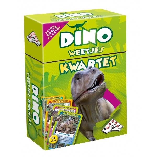 Met dit dino 'Weetjes' kwartet kun je niet alleen het bekende spel spelen, maar je leert ook allerlei leuke feiten over deze prehistorische dieren!    Geschikt voor 2–4 spelers vanaf 6 jaar.