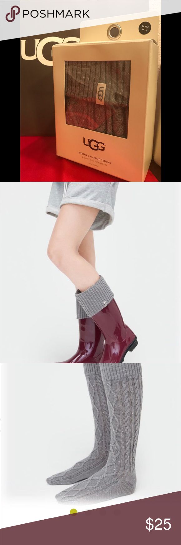UGG Women's Rainboots Socks. These cozy cable knit socks are designed to pair with your favorite Rainboots letting you change up your look and make it your own. 43% acrylic, 36% nylon, 19% Wool, 2% spandex. UGG Accessories Hosiery & Socks