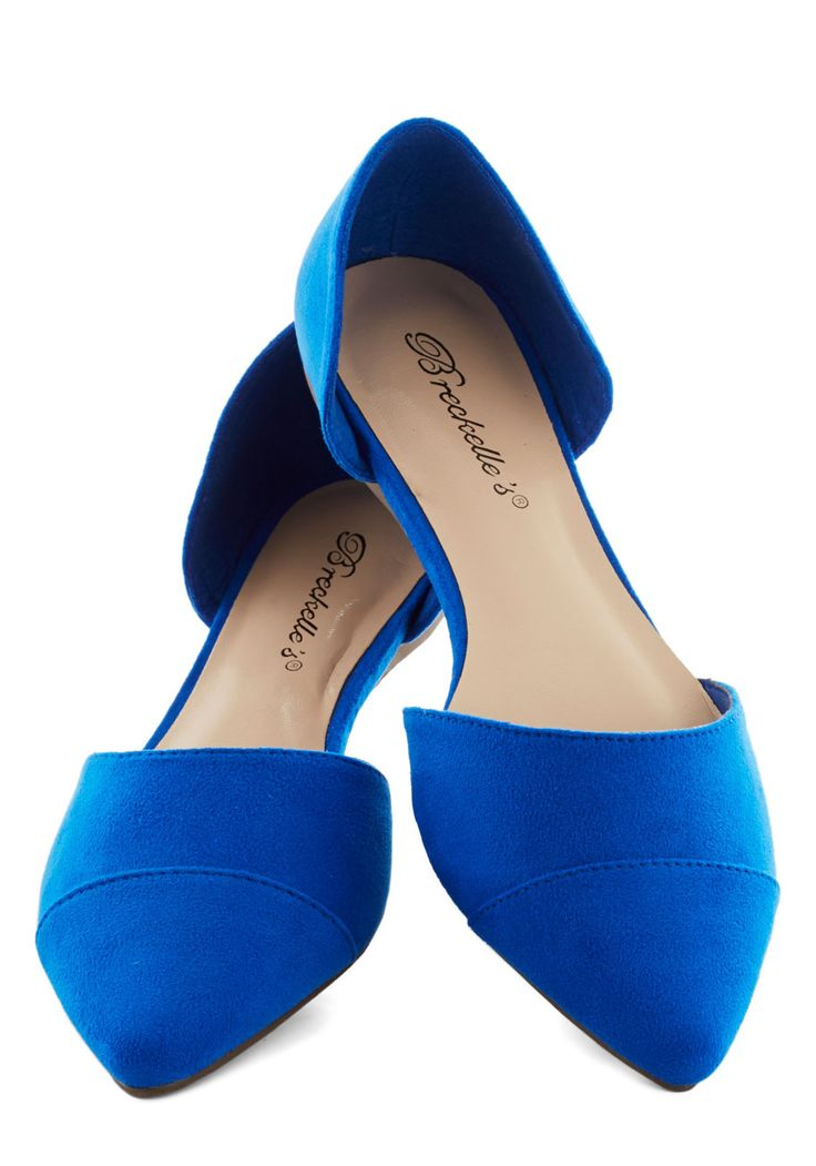 Looking Up-tempo Flat in Cobalt. Get into the right fashion rhythm by sporting these minimalist dOrsay flats! #blue #modcloth