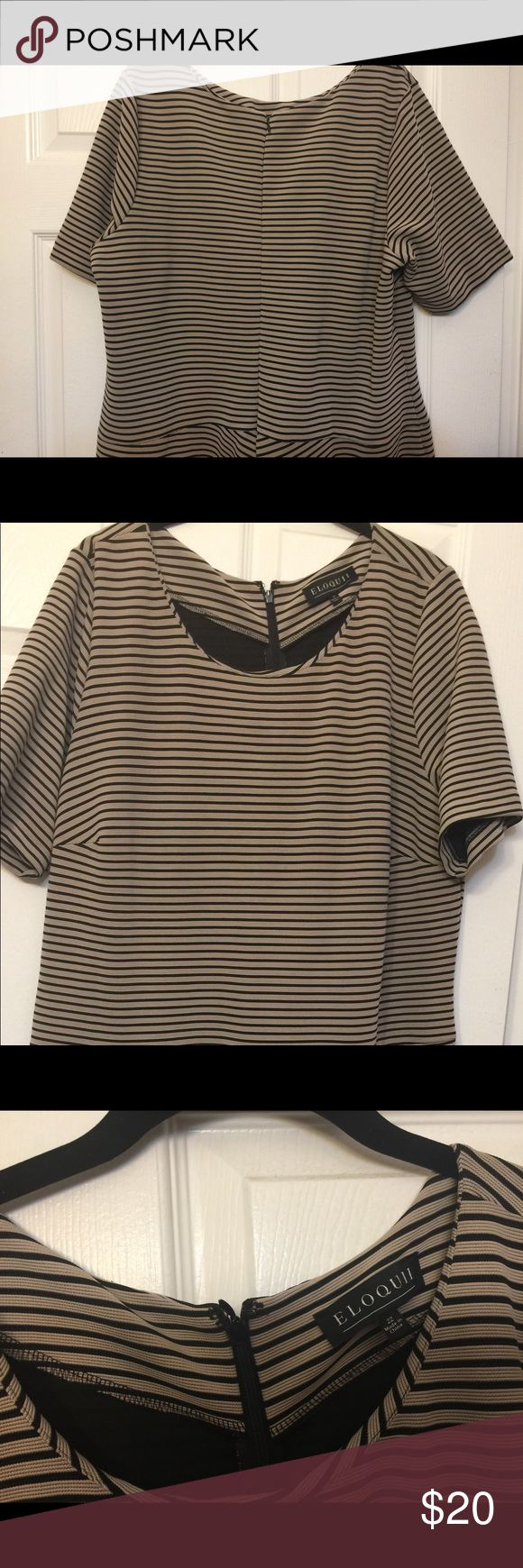 Eloquii size 22 dress Eloquii tan and black textured stripe dress in size 22. Style: fit and flare Eloquii Dresses
