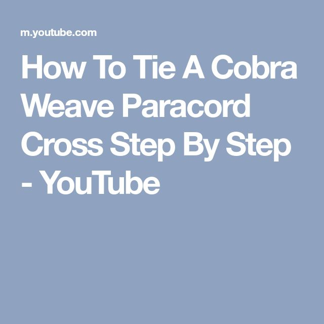 How To Tie A Cobra Weave Paracord Cross Step By Step - YouTube