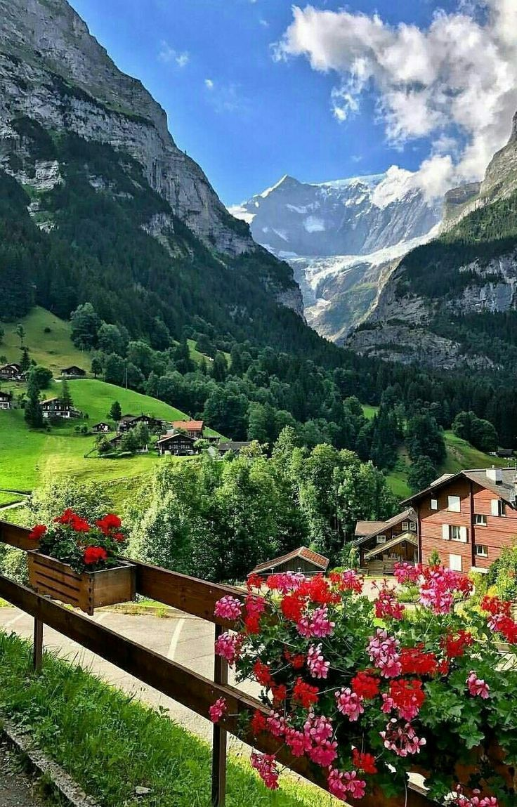 Stunning Mountains With Lush Green Scenery All Around In Switzerland Beautiful Landscapes Green Scenery Beautiful Places