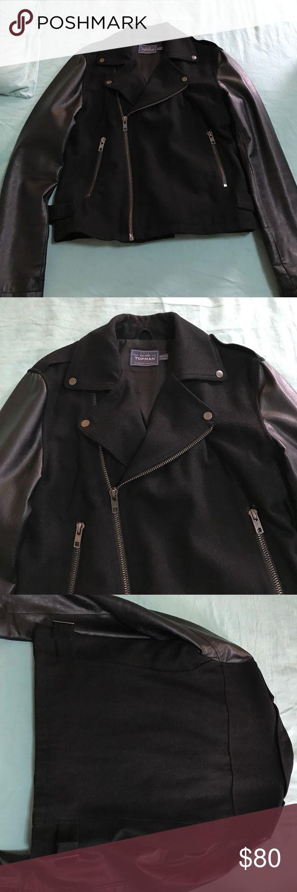 Topman Jacket Topman Medium biker wool jacket with leather sleeves. Topman Jackets & Coats Performance Jackets
