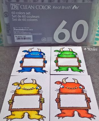 Color theraby with ZIG Clean Color Real Brush and Stampotique stamp. / Väritysterapiaa, leimasinkuvan värittämistä vesiväritusseilla.