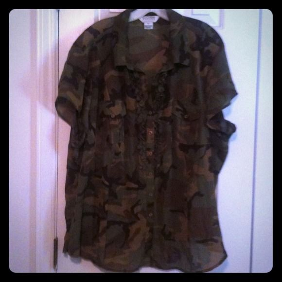 Button down green camouflage top Green camouflage button down top with ruffle down front worn 1x Allison Taylor  Tops Button Down Shirts