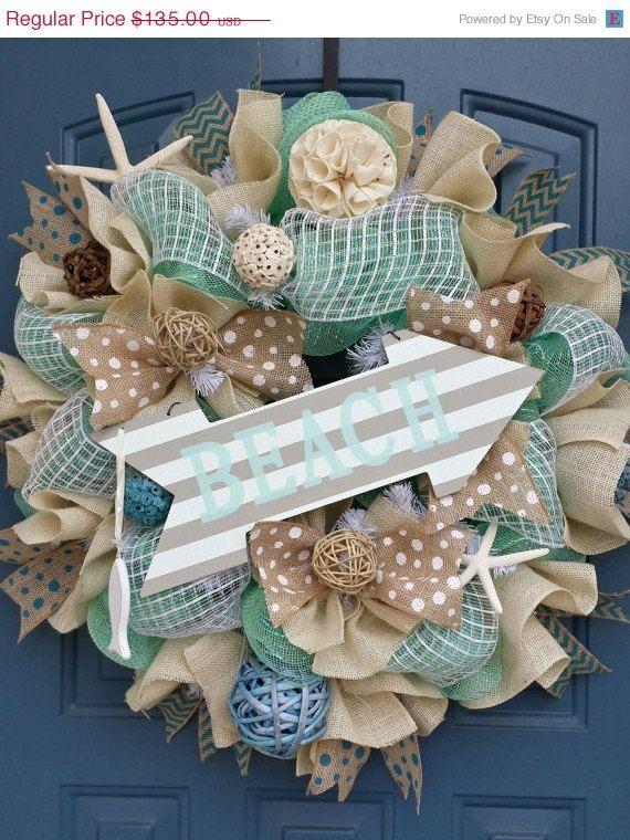 On Sale Beach/Summer deco mesh wreath by WonderfulWreathsKim,