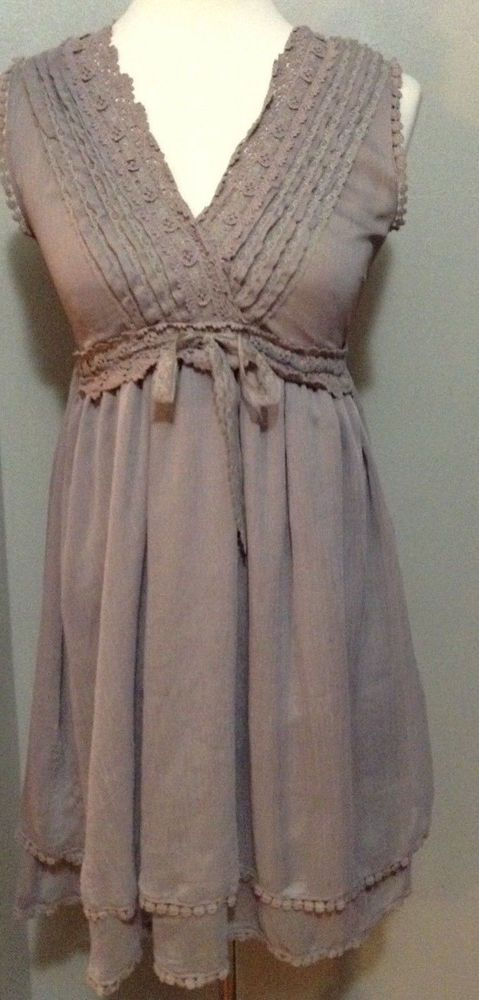 Studio Y Flowy Satin material lace Gray Grey Layered tiered Peasant Dress 1 / 2 #StudioY #TunicDress #Casual
