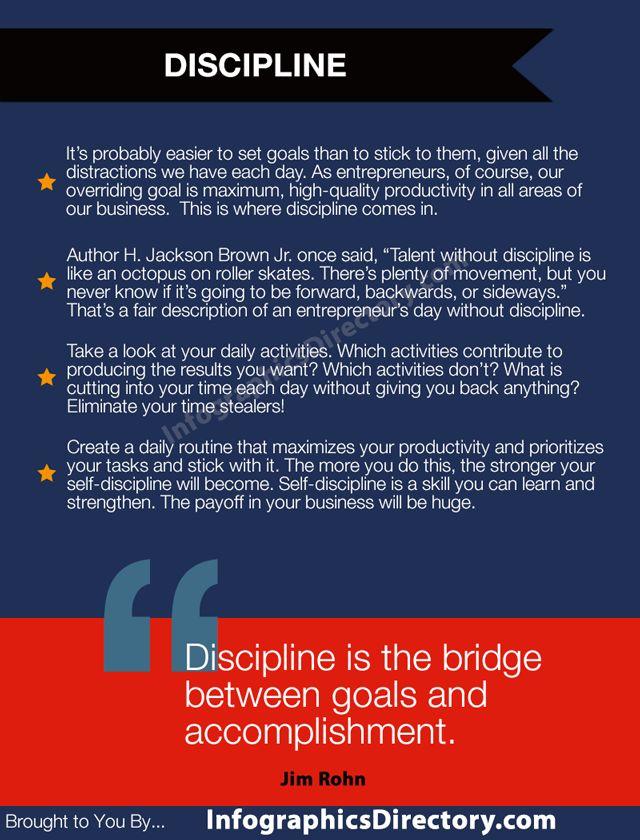 Entrepreneurial Spirit Infographics On Discipline Discipline To Pursue Goals Is An Important Characteristi Life Motivation Entrepreneur Success Infographic