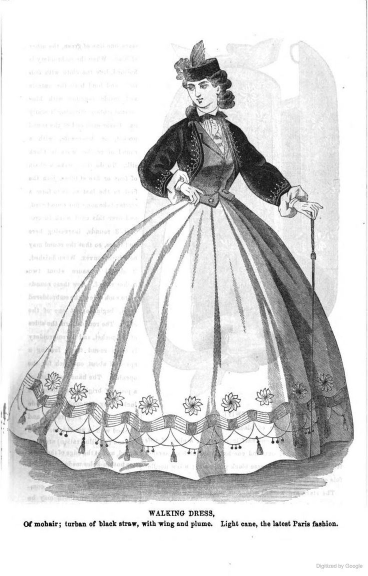 "1864, Arthur's Illustrated Home Magazine. Walking dress of mohair, with a ""turban"" of black straw, and a fashionable cane. [jrb]"