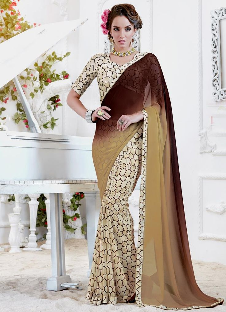 Exclusive large collection of beautiful designer sarees online. Buy this fashionable print work printed saree for casual and party