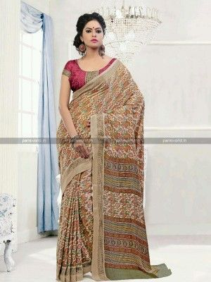 Beige N Red Pashmina Casual Printed Saree