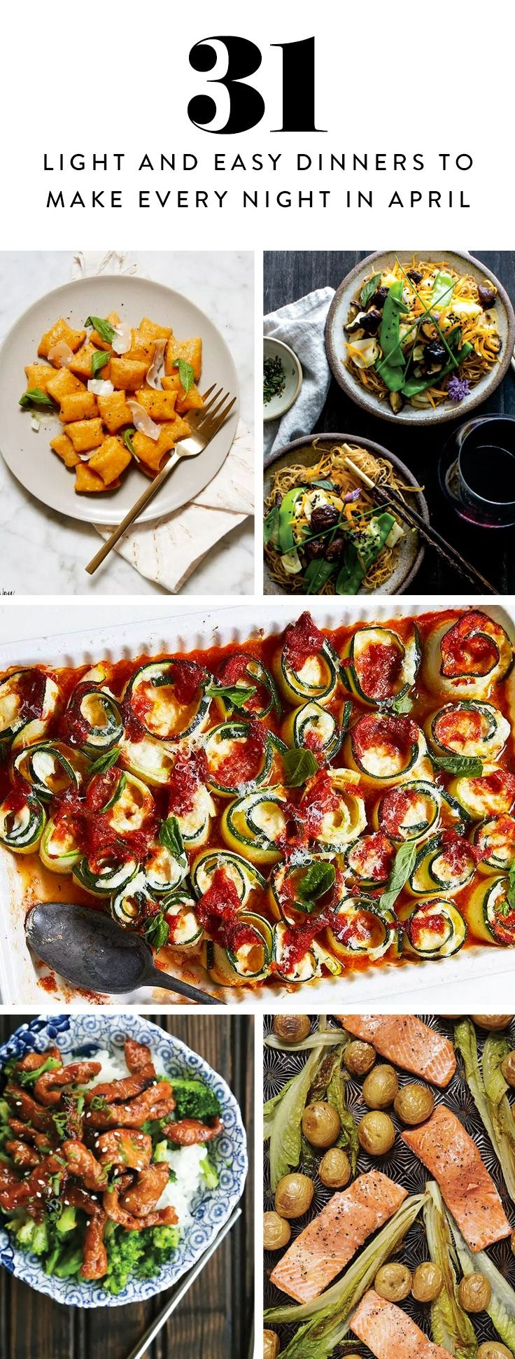 Presenting a whole month of springtime dinner inspiration. Bye, cooking rut.