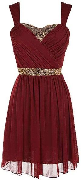 """Burgundy Sequin Trim Dress. Elegant burgundy dress, strap sleeves with crisscross top and golden sequin trim - with lining. 100% Polyester. Length: 35.5"""" from shoulder to hem. Runs slightly small. #ustrendy www.ustrendy.com"""