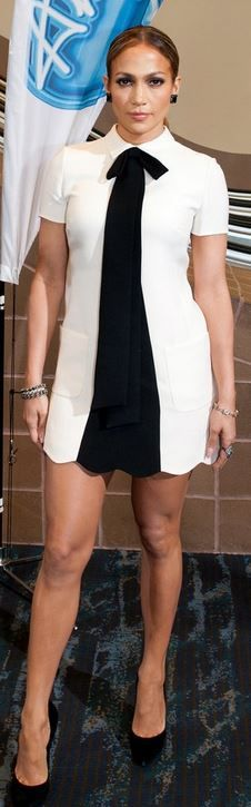 Who made  Jennifer Lopez�s white bow dress and black pumps that she wore in New Orleans on August 27, 2014