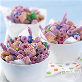 Purple Party Mix from Pillsbury Baking Food Snack Treat - Sophia the First Birthday Party Inspiration