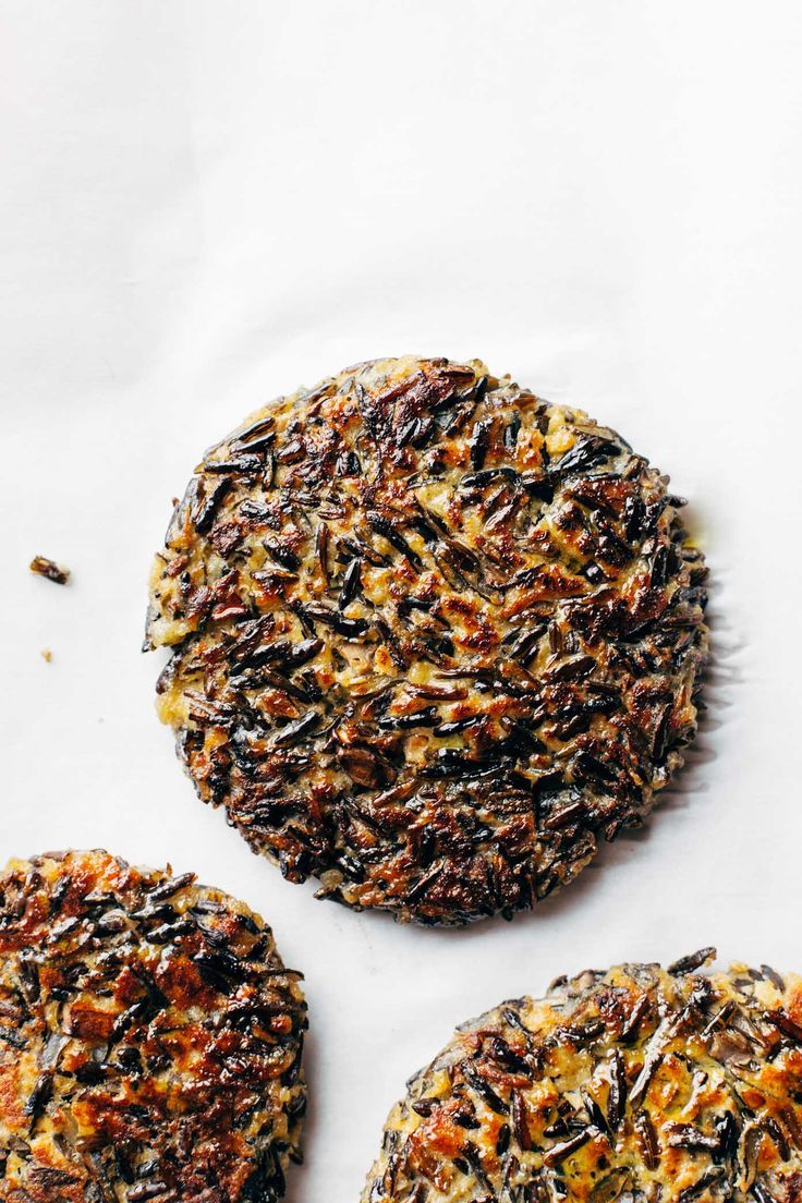 Wild Rice Burgers - 6 ingredient veg burgers! works on a bun, with cheese, or completely naked. so yummy!   pinchofyum.com